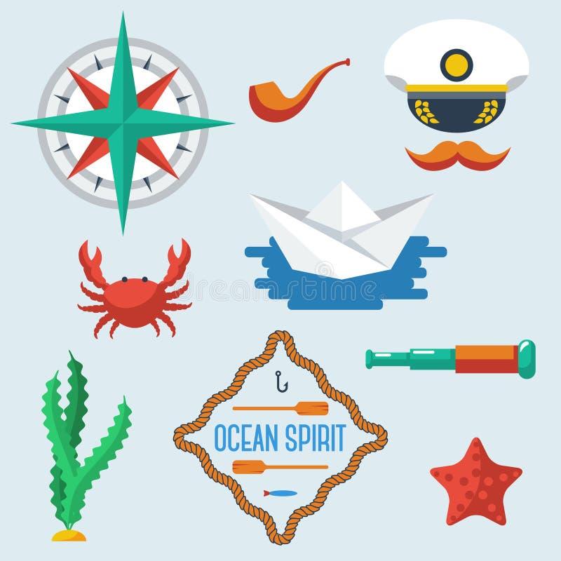 Море возражает собрание также вектор иллюстрации притяжки corel иллюстрация штока