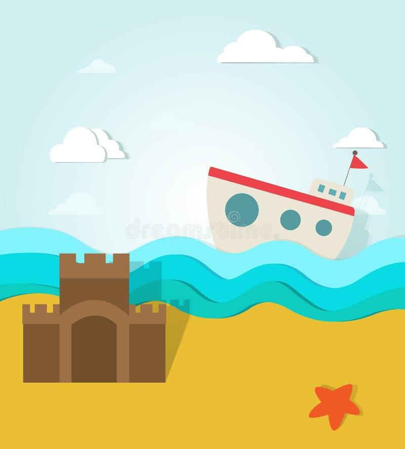 Море в бумаге лета иллюстрация вектора
