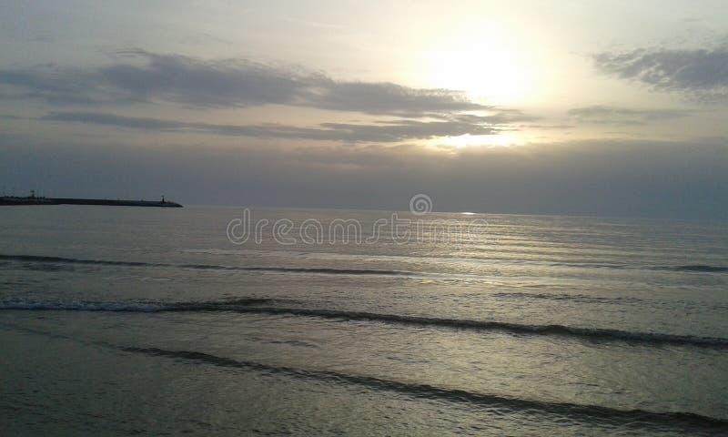 Море захода солнца в Viareggio стоковые изображения