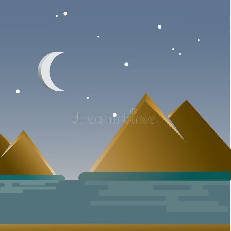 Море и звездная ночь иллюстрация штока