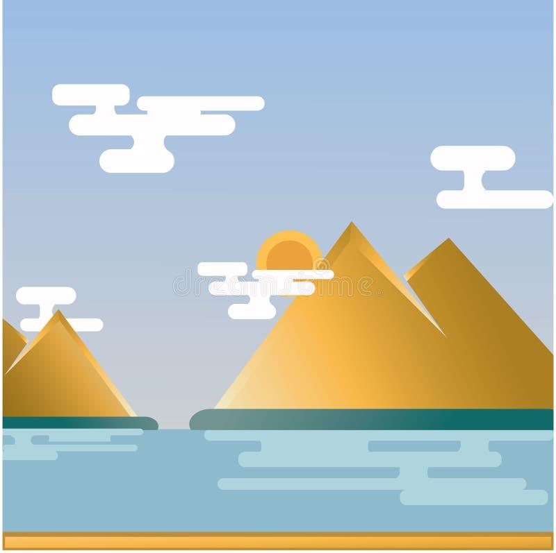 Море и холмы Shinny иллюстрация вектора
