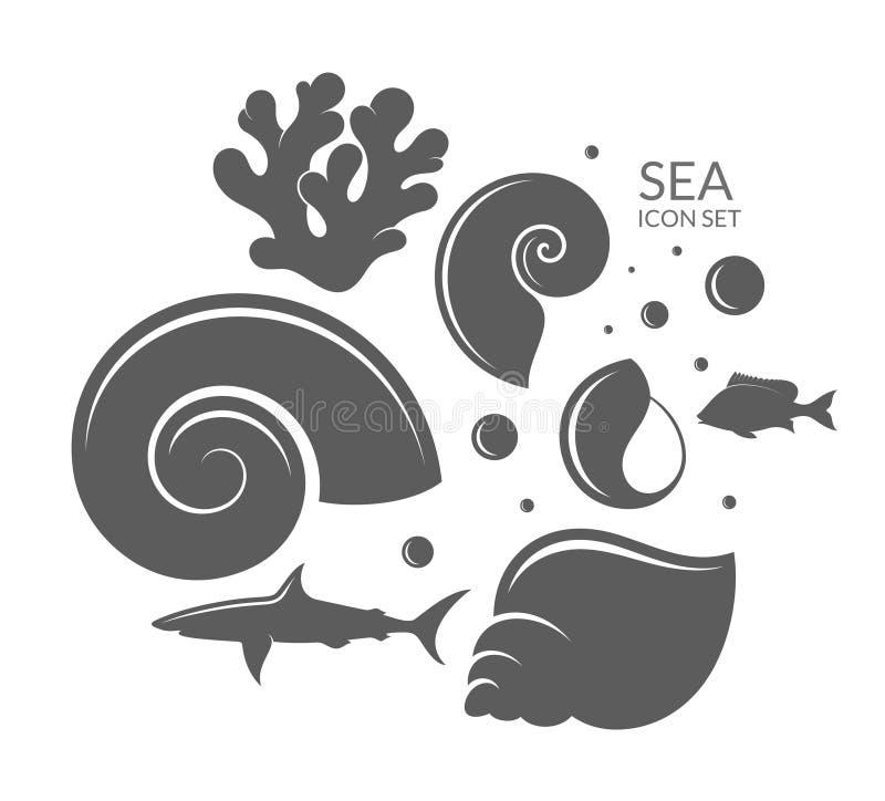 Море Комплект значка риф иллюстрация штока