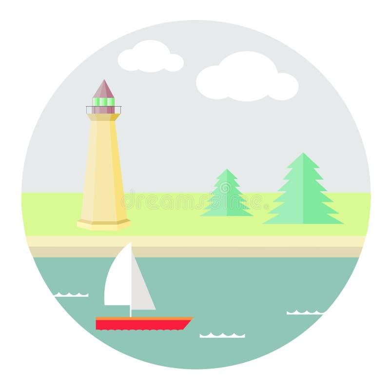 Море, корабль на предпосылке гор стоковое изображение rf
