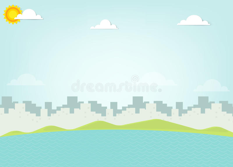 Море на силуэте предпосылки города иллюстрация вектора