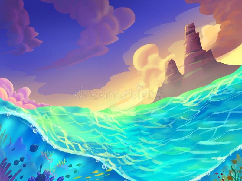 Море на солнечный день с фантастическим, реалистическим и футуристическим стилем иллюстрация штока