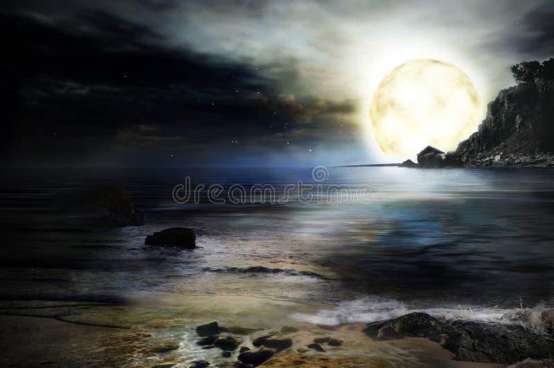 море ночи предпосылки иллюстрация вектора