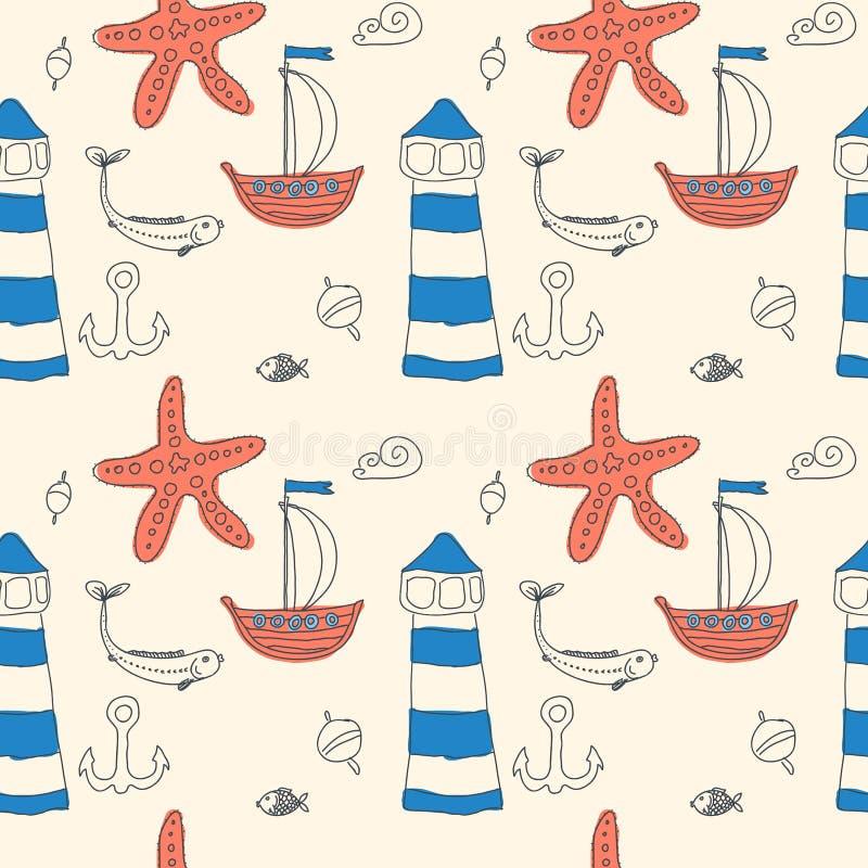 Море орнамента безшовное милое возражает собрание бесплатная иллюстрация