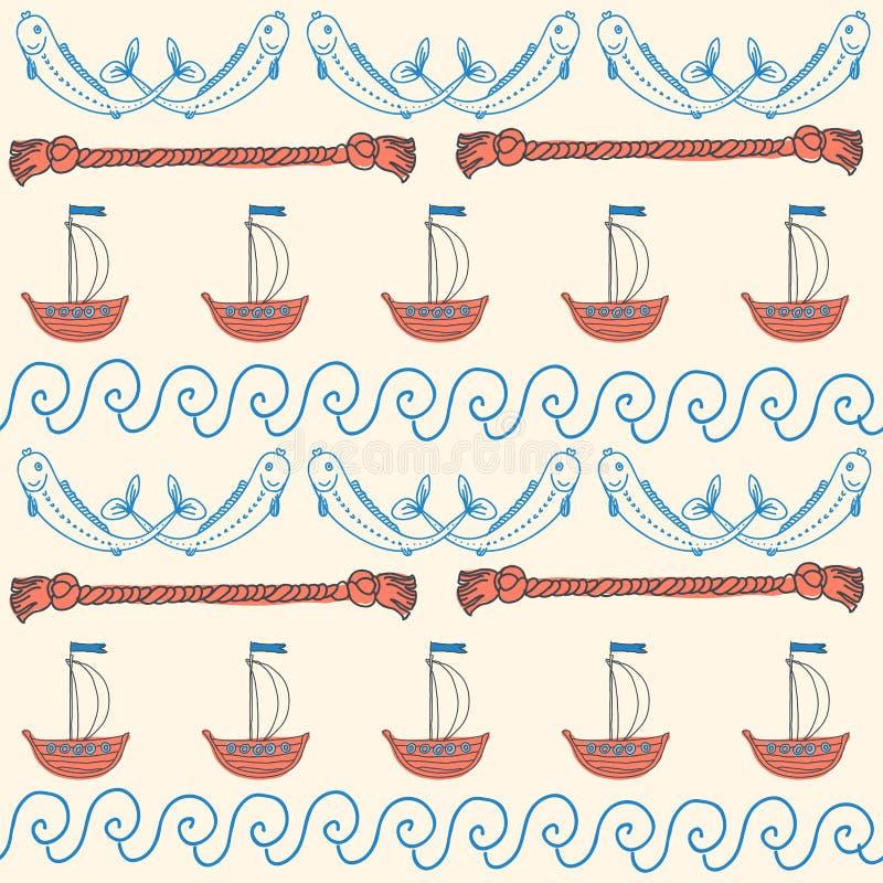 Море орнамента безшовное милое возражает собрание иллюстрация вектора