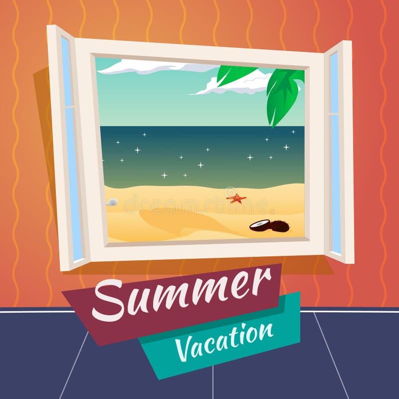 Море открытого окна шаржа каникул летнего отпуска иллюстрация вектора