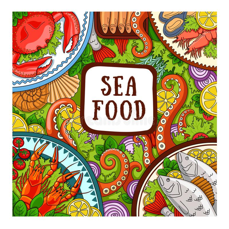 море петрушки еды рыб зажаренное в духовке плитой Идея проекта для магазина, ресторана иллюстрация вектора