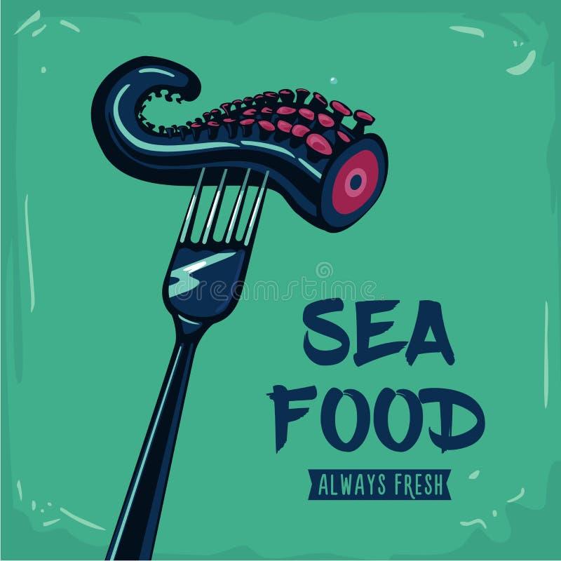 море петрушки еды рыб зажаренное в духовке плитой Винтажный плакат с вилкой и осьминогом иллюстрация вектора