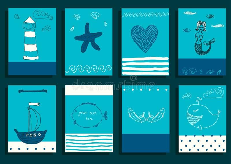 Море поздравительной открытки установленное милое возражает собрание иллюстрация вектора