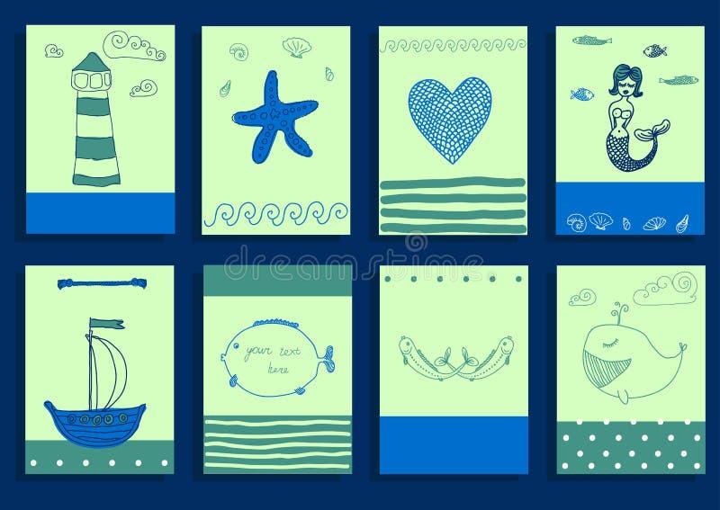 Море поздравительной открытки установленное милое возражает собрание бесплатная иллюстрация