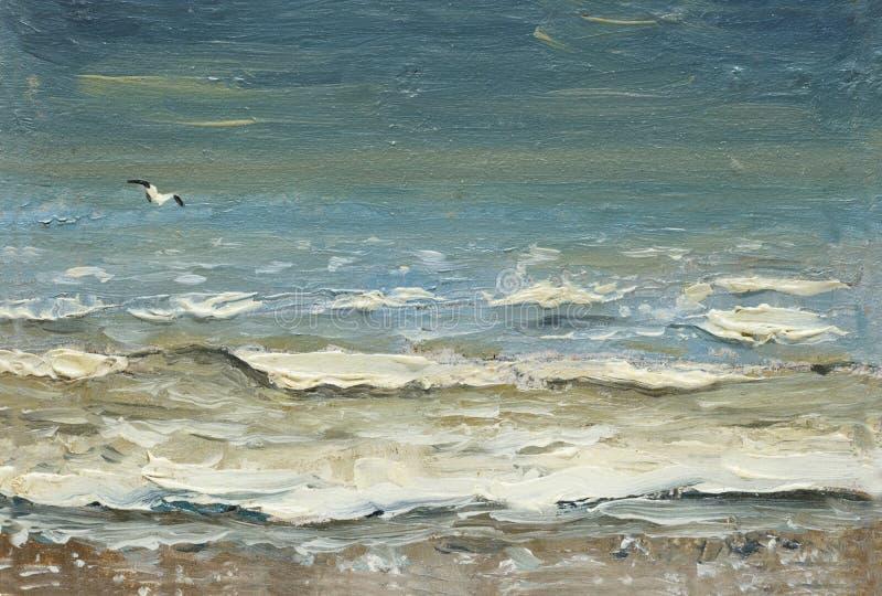 Море после того как волны и чайки шторма пенясь над водой масло картины на холсте бесплатная иллюстрация