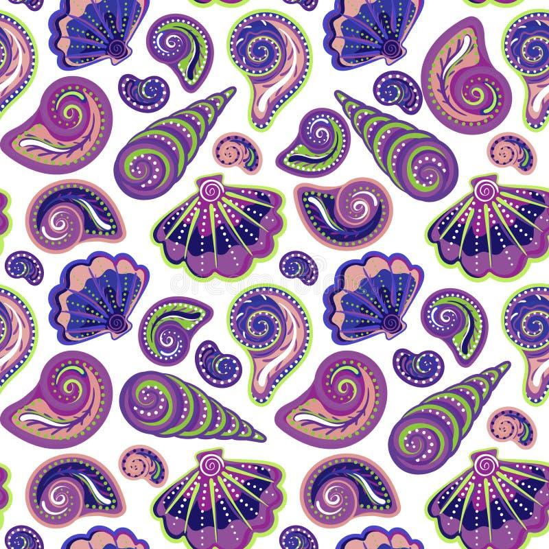 Море притяжки руки обстреливает картину Безшовная текстура с рукой покрасила океанские объекты жизни Предпосылка лета вектора бесплатная иллюстрация