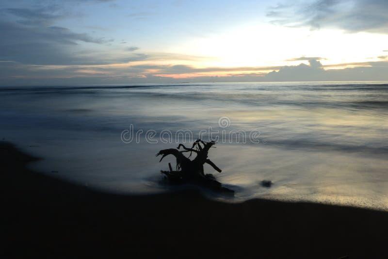 Море пляжа песка перемещения природы захода солнца красивое заволакивает момент дня светлый изумительный стоковое фото