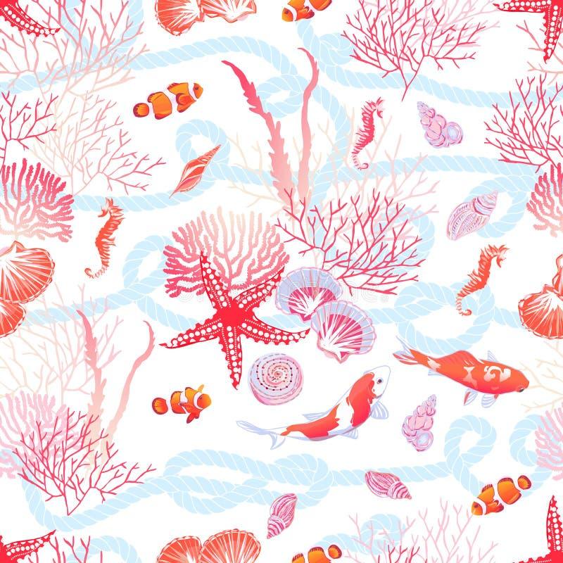 Море с рыбами, красная звезда, раковины, морской конек, vect водорослей безшовное иллюстрация вектора