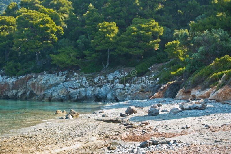Море трясет на затишье и кристалле - ясная вода на утре, Milia бирюзы приставает к берегу, остров Skopelos стоковые фотографии rf