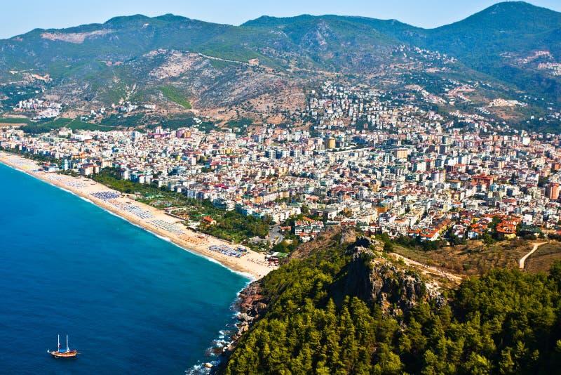 море холма свободного полета города alanya стоковое изображение rf