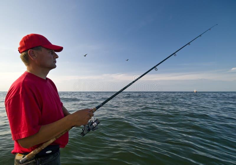 море человека рыболовства стоковое изображение rf