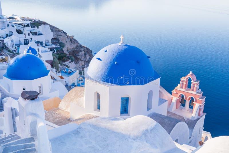 Море oia santorini Греции роскошное эгейское голубое стоковое изображение