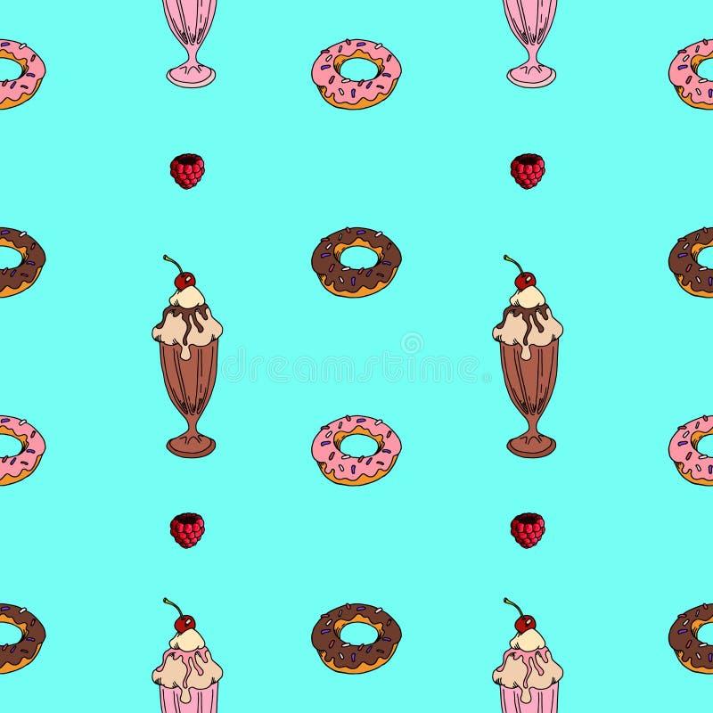 Мороженое безшовной картины сладкое меню, открытка иллюстрация штока