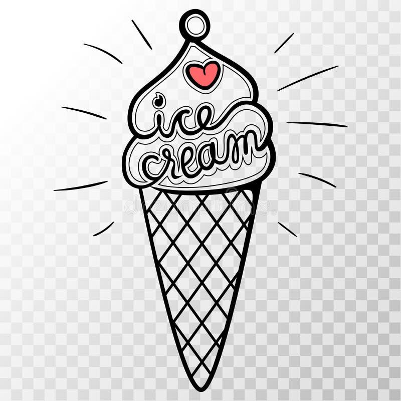 Мороженое вектора с прозрачной предпосылкой Вычура и милая беда иллюстрация штока