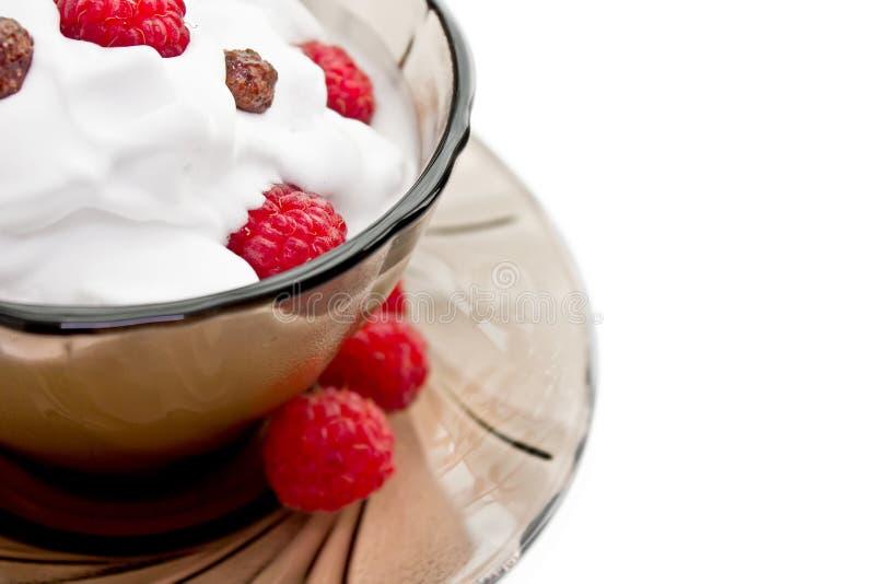 Мороженое, взбитая сливк и поленика стоковое изображение rf