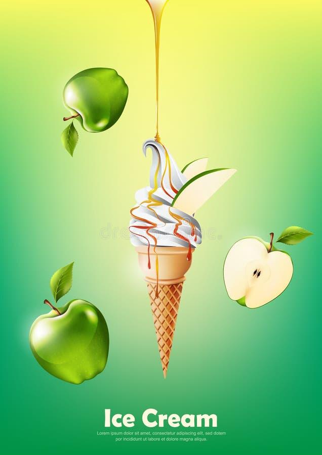 Мороженое в конусе, льет зеленый сироп яблока и много зеленую предпосылку яблока, прозрачный вектор иллюстрация вектора