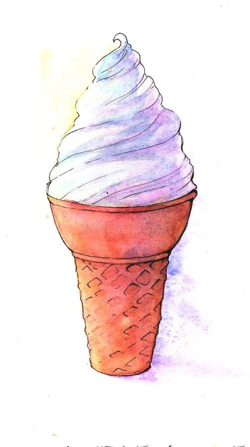 Мороженое, еда, свежая, лето, каникулы, рожок иллюстрация штока