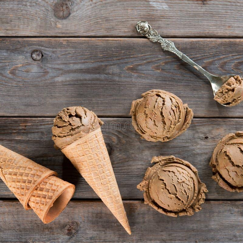 Мороженое какао взгляд сверху стоковое изображение