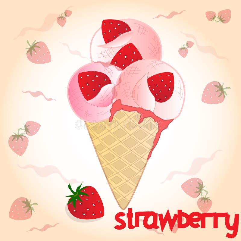 Мороженое клубники на розовой предпосылке бесплатная иллюстрация