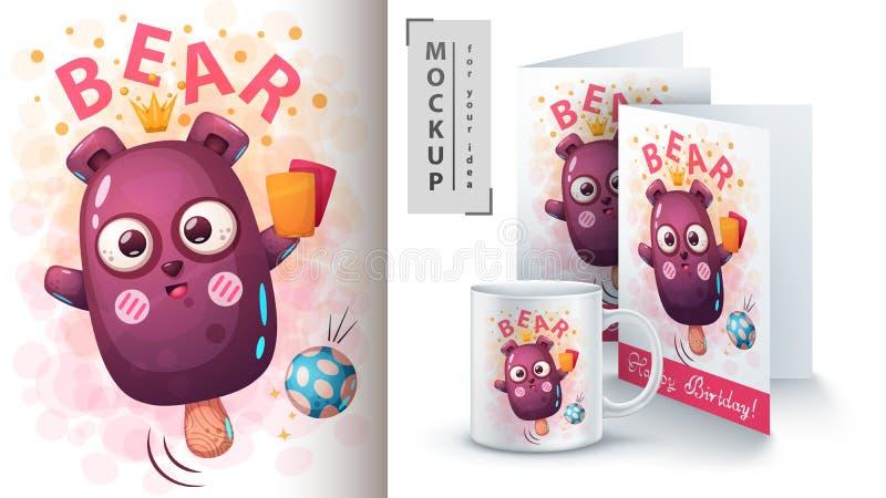Мороженое медведя - модель-макет для вашей идеи иллюстрация штока