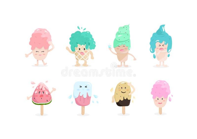 Мороженое, милые персонажи из мультфильма, дизайн сладкого вектора со иллюстрация штока