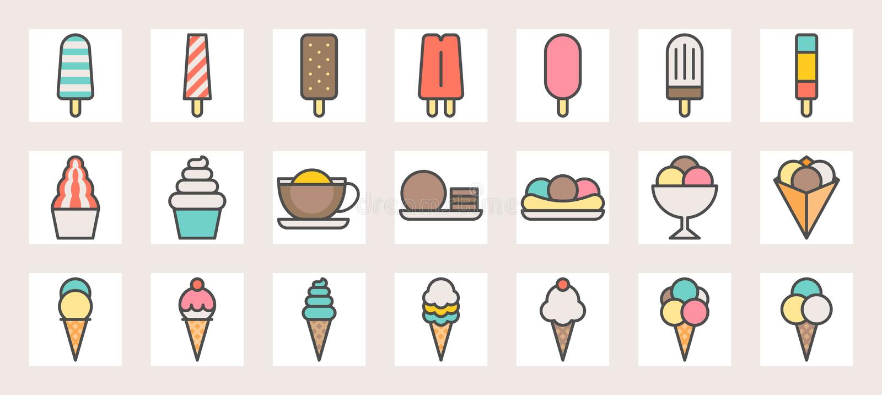 Мороженое, мягкая подача, бритье льда, ветроуловитель в crape и popsicle заполнили значки цветного барьера бесплатная иллюстрация