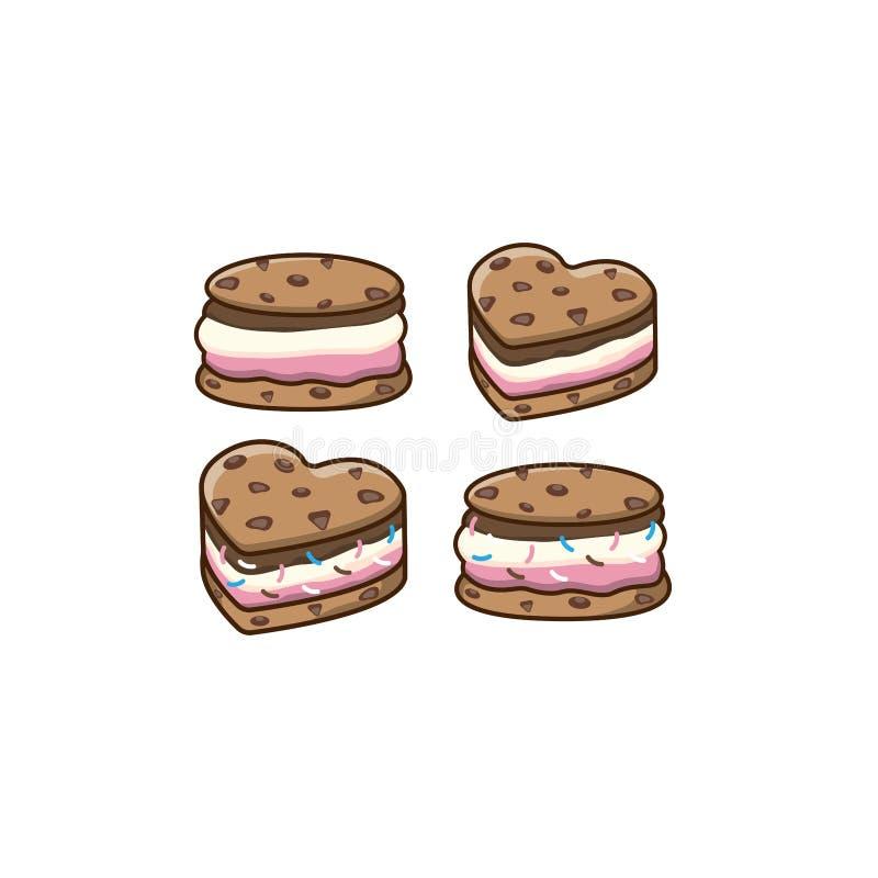 Мороженое печенья прослаивает логотип Значок мороженого, ярлык, логотип, значки конструирует шаблоны иллюстрации вектора Печенье  бесплатная иллюстрация