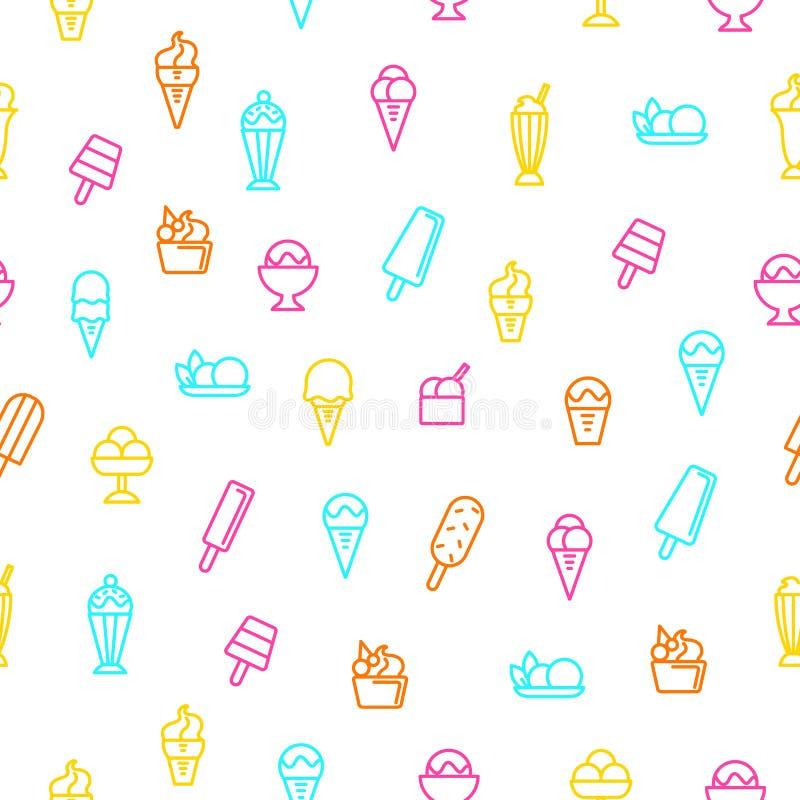 Мороженое подписывает тонкую линию безшовную предпосылку картины вектор иллюстрация штока