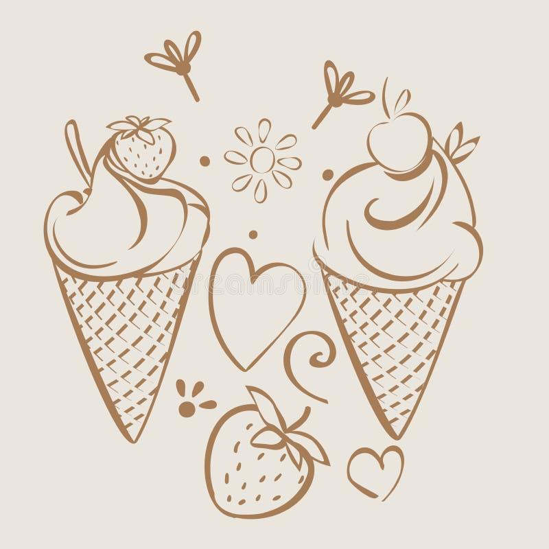 Мороженое с клубникой, вишней Monochrome бежевый ручной работы чертеж для детей, взрослый, caffee бесплатная иллюстрация