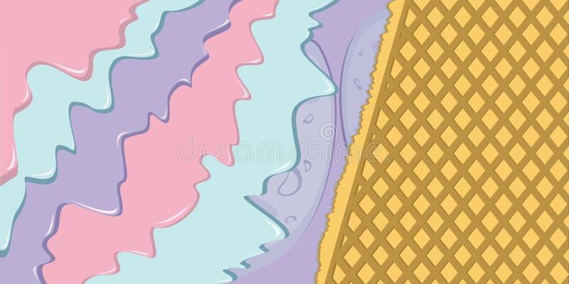 Мороженое ягоды с иллюстрацией вафли иллюстрация вектора