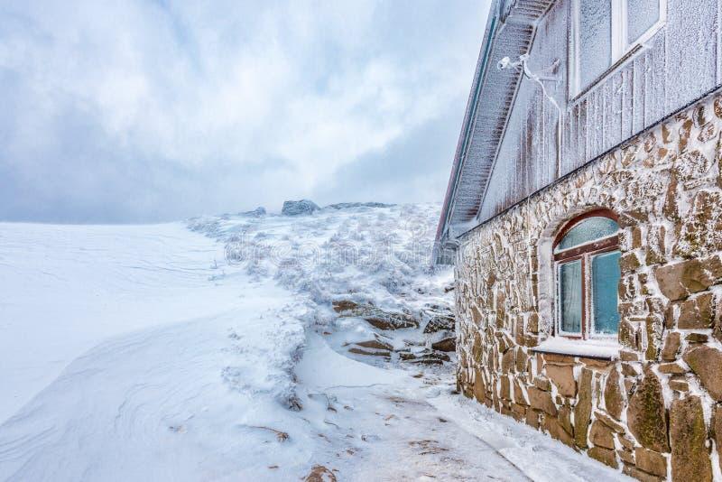 Морозное укрытие в лугах Wetlina bieszczady горы стоковые фотографии rf