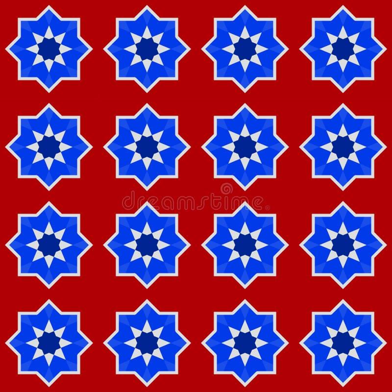 Морокканская безшовная картина, Марокко Белизна красного цвета кобальта сини военно-морского флота традиционного фольклорного гео иллюстрация вектора