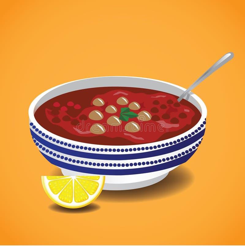Морокканский суп harira Традиционная еда Рамазана бесплатная иллюстрация