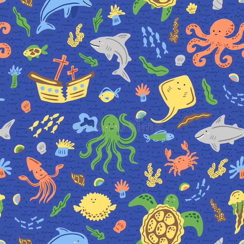 Морская безшовная картина для детей Характеры мультфильма ребяческие Шаблон для ткани, обоев также вектор иллюстрации притяжки co стоковое изображение rf