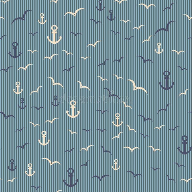 Морская безшовная картина с анкером и чайками иллюстрация вектора