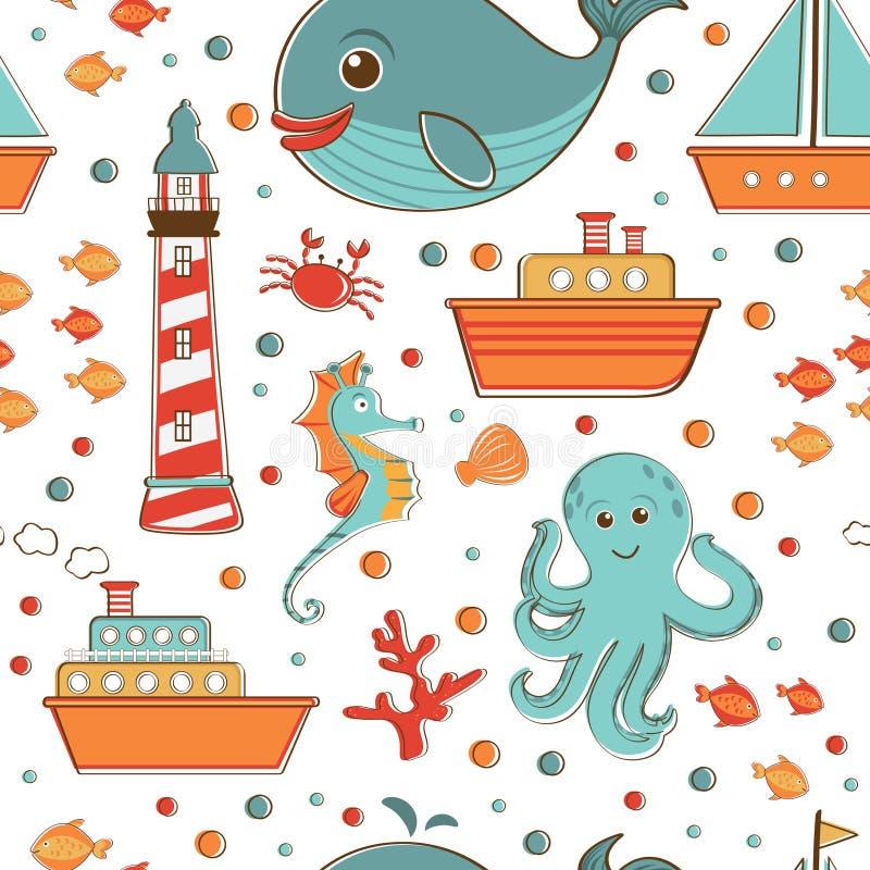 Морская безшовная картина с деталями моря родственными иллюстрация штока