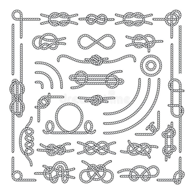 Морская веревочка завязывает элементы вектора декоративные винтажные иллюстрация вектора