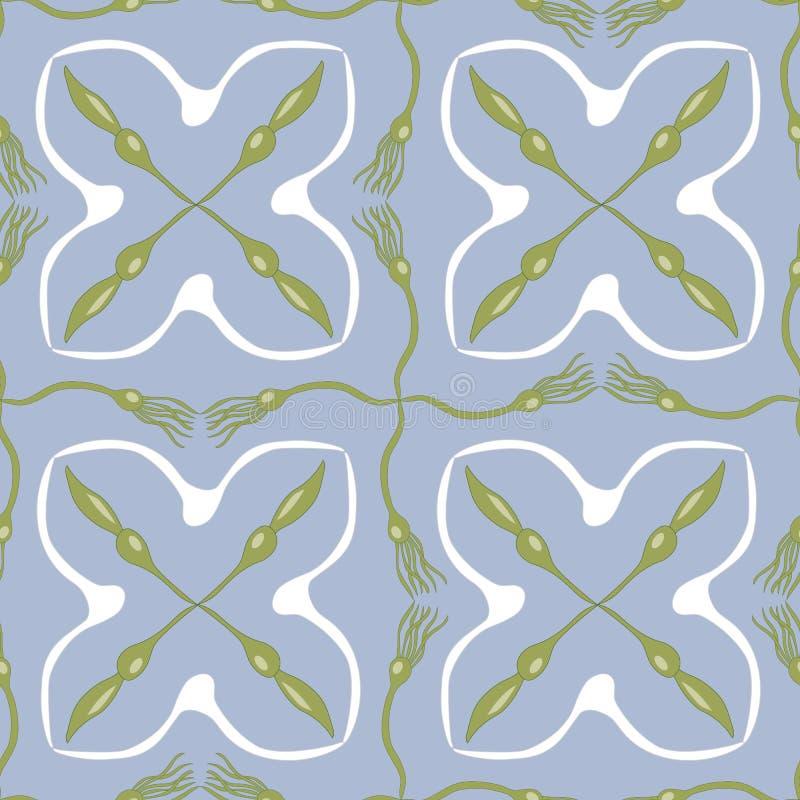 Морская водоросль и чайки вектора в зеленой, белой и голубой безшовной картине повторения иллюстрация вектора