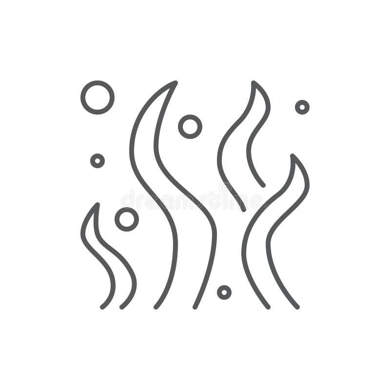 Морская водоросль с линией значком шариков editable - подводный элемент флоры океана или аквариума иллюстрация штока