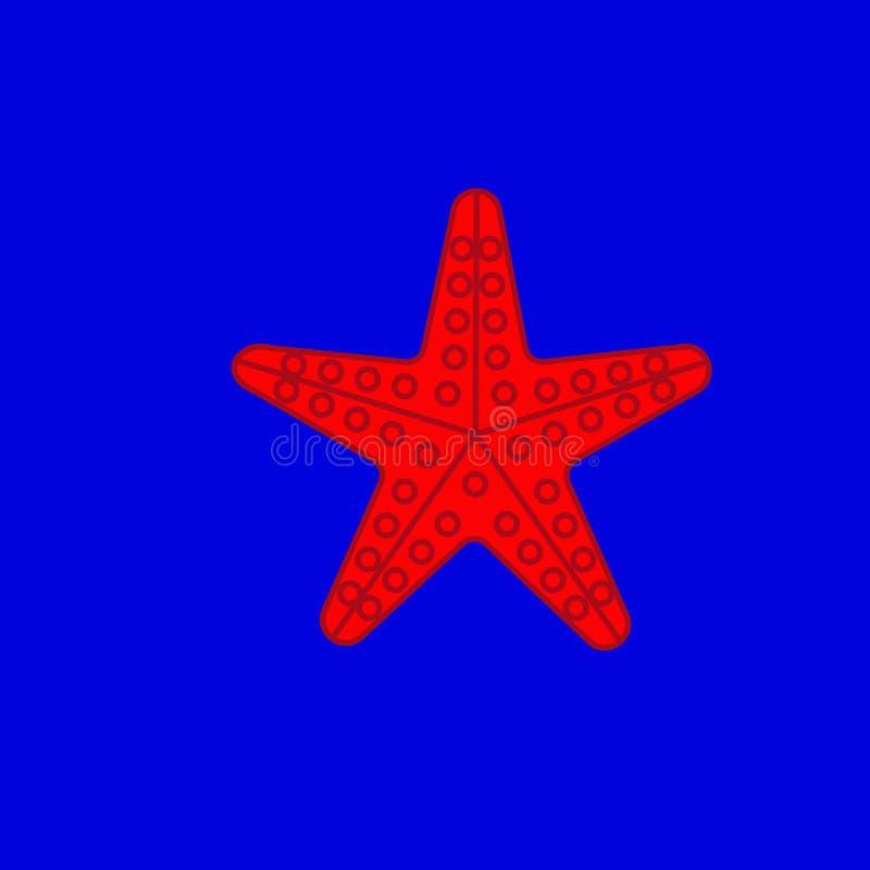Морская звезда на голубой предпосылке иллюстрация штока