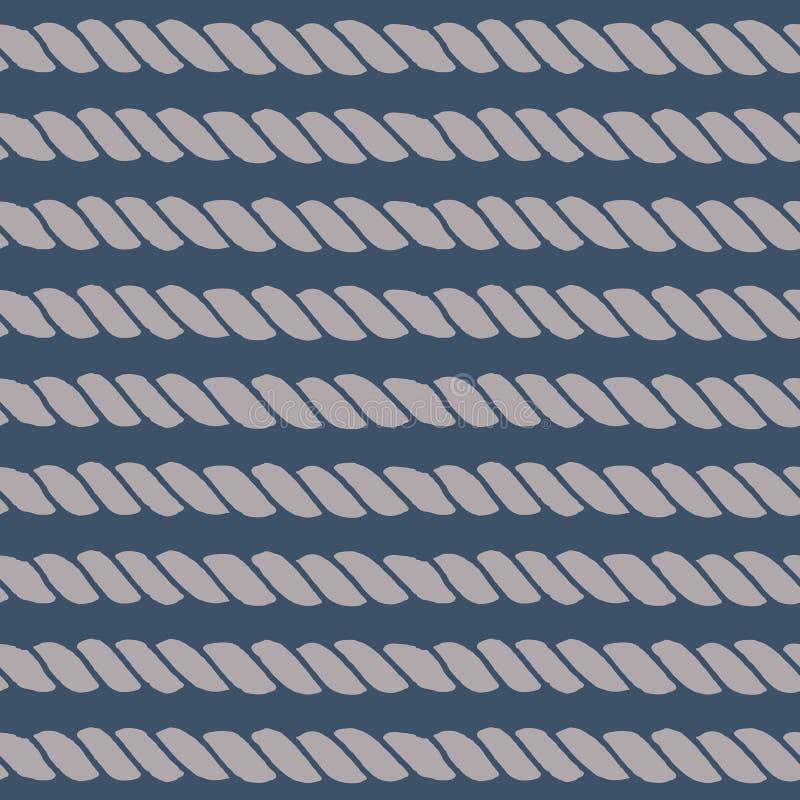 Морская линия безшовная картина веревочки иллюстрация вектора
